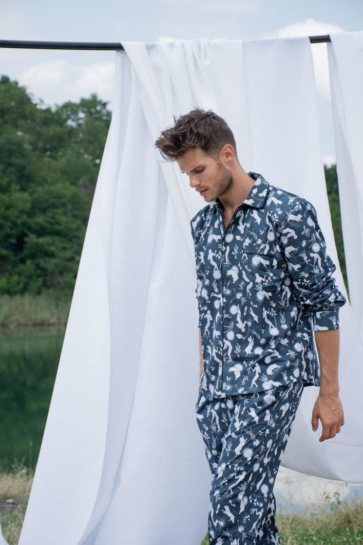 Odyssey Navy Blue Men Long Pyjama Set