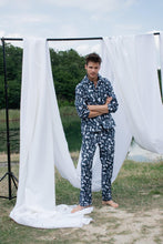 Load image into Gallery viewer, Odyssey Navy Blue Men Long Pajama