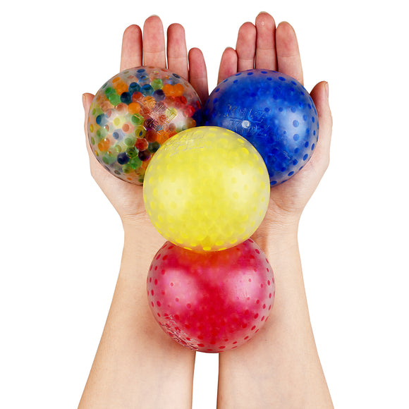 KELZ KIDZ Durable Large Squishy Water Bead Stress Balls (12 Pack) - Great Sensory Toy for Anxiety Relief for Children and Adults - Helps Calm Kids with ADHD & Autism (Case of 10 Packs-120 Balls)