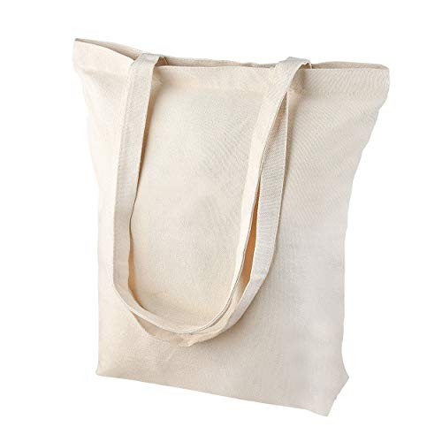 Heavy Duty and Strong, Large Zippered Canvas Tote Bags with Bottom Gusset for Crafts, Shopping, Groceries, Books, Welcome Bag, Diaper Bag, and the Beach!