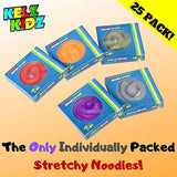 KELZ KIDZ Durable Textured (Patent Pending) Stretchy String Fidget and Sensory Toy - 25 Packs of Individually Packaged Monkey Noodles - Fun and Therapeutic Stress and Anxiety Reliever for Kids
