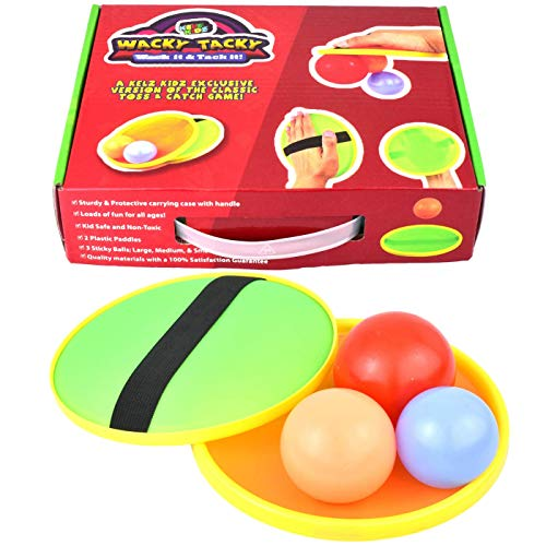 KELZ KIDZ Premium Exclusive Wacky Tacky Toss and Catch Sticky Balls and Paddle Toy - Great Backyard or Beach Game!