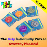 Durable TEXTURED (Patent Pending) Stretchy String Fidget and Sensory Toy - 15 Packs of Individually Packaged Monkey Noodles - Fun and Therapeutic Stress and Anxiety Reliever for Kids