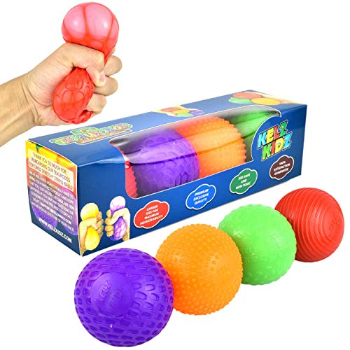 KELZ KIDZ Texturodos Textured Pull and Stretch Sensory Bin Stress Balls (4 Pack) - Great Therapeutic Toy for People with Anxiety Disorders