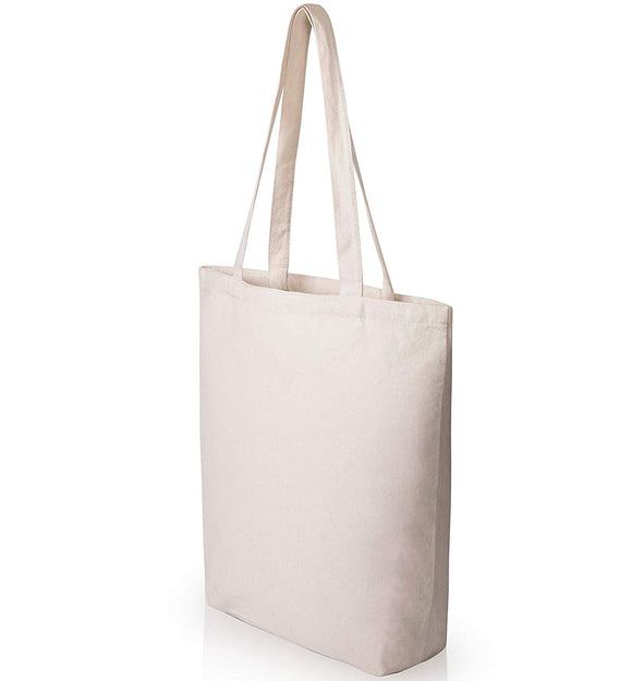 Heavy Duty and Large Canvas Tote Bags with Bottom Gusset for Crafts, Shopping, Welcome Bag, Beach, and More! -CASE of 100)- (15x14x4)