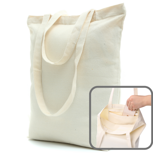 Heavy Duty and Strong, Large Zippered Canvas Tote Bags with Bottom Gusset & Zippered Pocket for Crafts, Shopping and more! (Case of 72 bags)