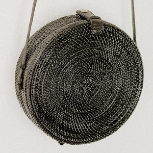 Anselma Round Rattan Bag - Black