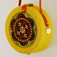 Mia Rattan Bag with Painted Flower