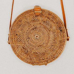 Maria Rattan Bag with Flower Pattern