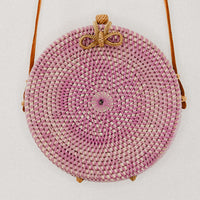 Anselma Round Rattan Bag - Purple