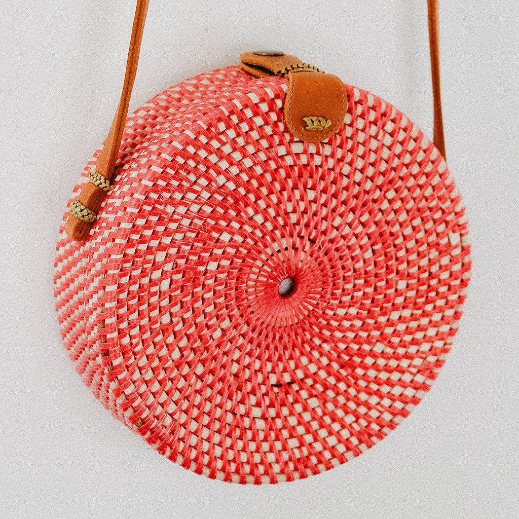 Anselma Round Rattan Bag - Red