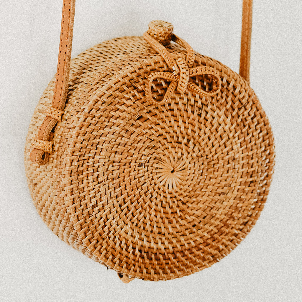 Anselma Round Rattan Bag - Small