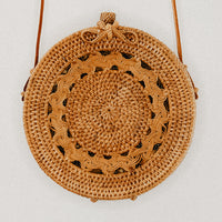 Luna Round Rattan Bag with Weave