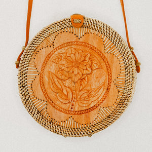 Stella Rattan Bag with Wooden Flower Art