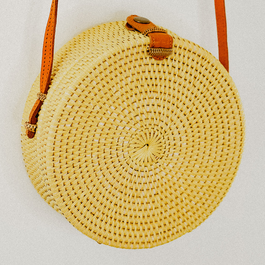 Anselma Round Rattan Bag - Yellow