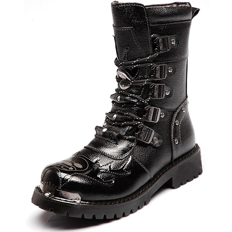 Cowboy Motorcycle Boots Army Military Leather Winter