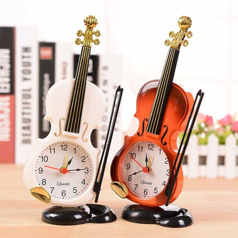 2017 New 2 Colors Creative Instrument Table Clock Student Violin Gift Home Decor Fiddle Quartz Alarm Clock Desk Plastic Craft