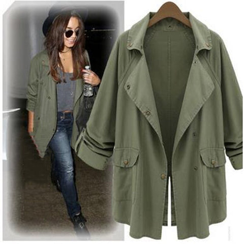 Autumn Thin Women Trench Coat spring new fashion slim casual windbreaker student girl long section is thin big ladies coat