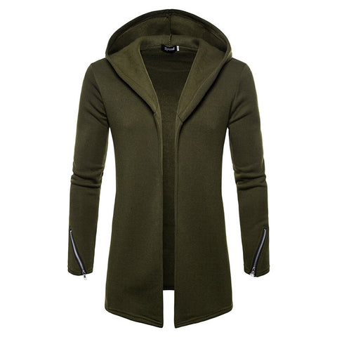 Large size Men's casual Hoodies & Sweatshirts  Hooded Trench Coat autumn Fashion Long slim Fit Trench Coat Men Overcoat