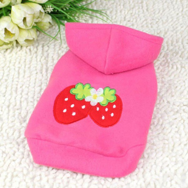 Small Dog Pets Clothes Strawberry Hoodie Apparel Warm Coat