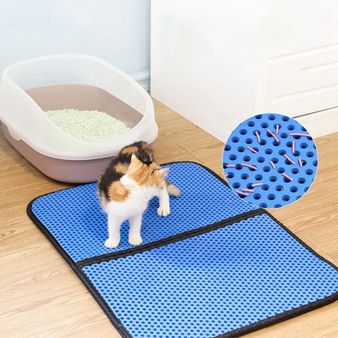 Pet Cat Litter Mat EVA Double Layer Cat Litter Trapper Mat folding Waterproof Non-slip Pet Litter Mat Drop shipping 2019 New Pet