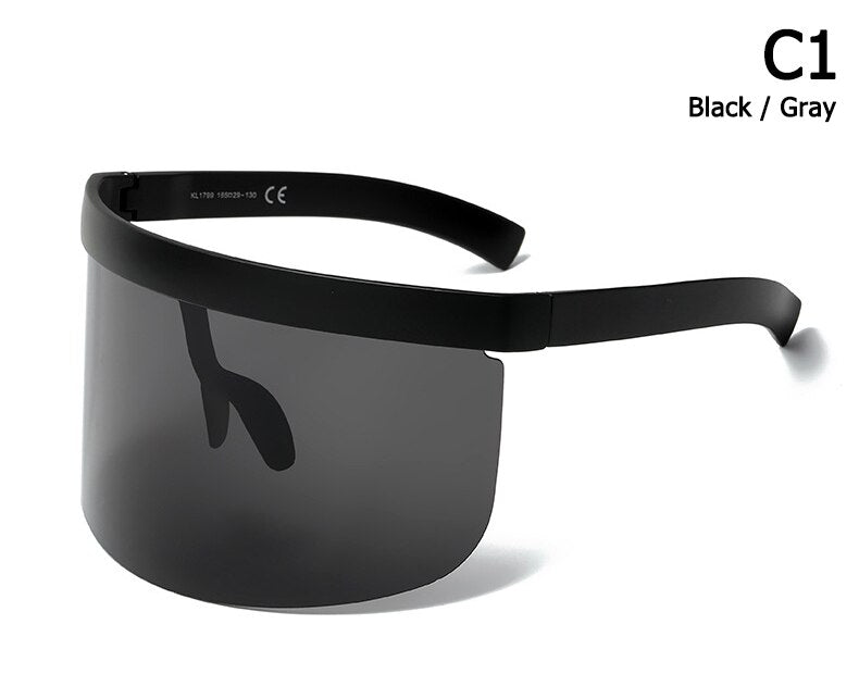 2020 Fashion Oversized Mask Shape Shield Style Sunglasses Cool Street Snap