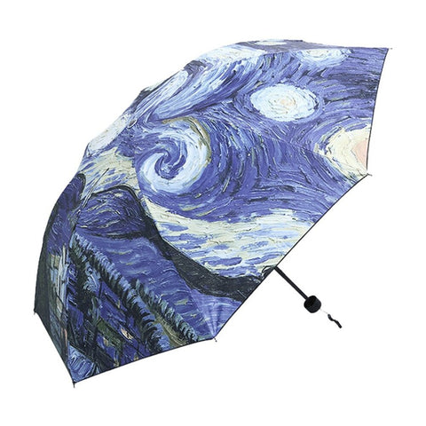 2 Patterns Van Gogh Oil Painting Rain Umbrella Waterproof Folding Sunshade Anti-UV Umbrella All-weather