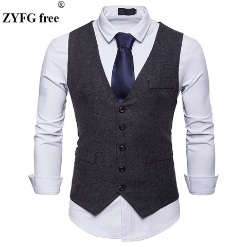 Spring New Dress vest Men's Fashion solid Suit Vest Goods Cotton High-end Mens Business Casual suit vests large size