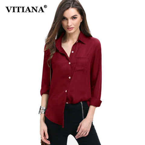 VITIANA Women Plus Size XS-5XL Casual Chiffon Blouse Female 2018 Summer Long Sleeve Elegant Hot Tops Tee Feminina Office Blouses