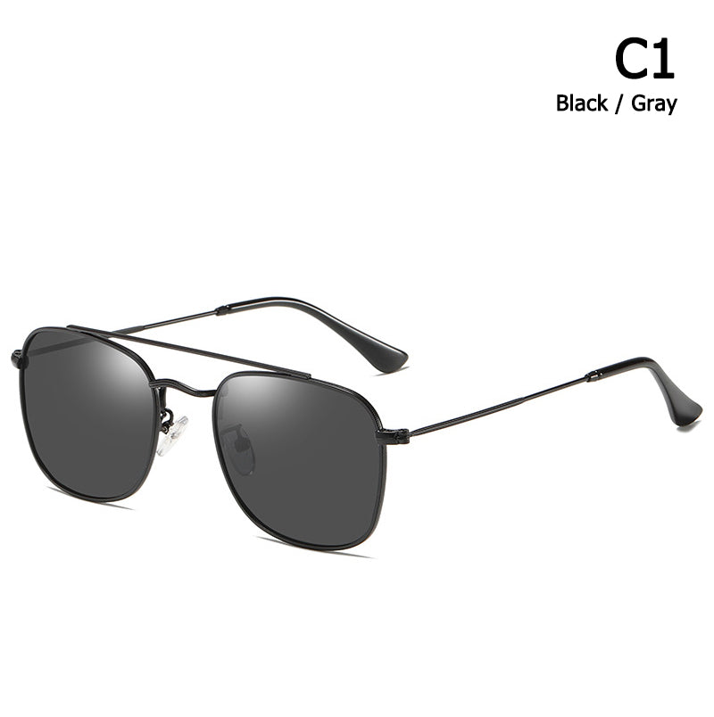 Fashion Vintage Square Metal Aviation Style Polarized Sunglasses Classic