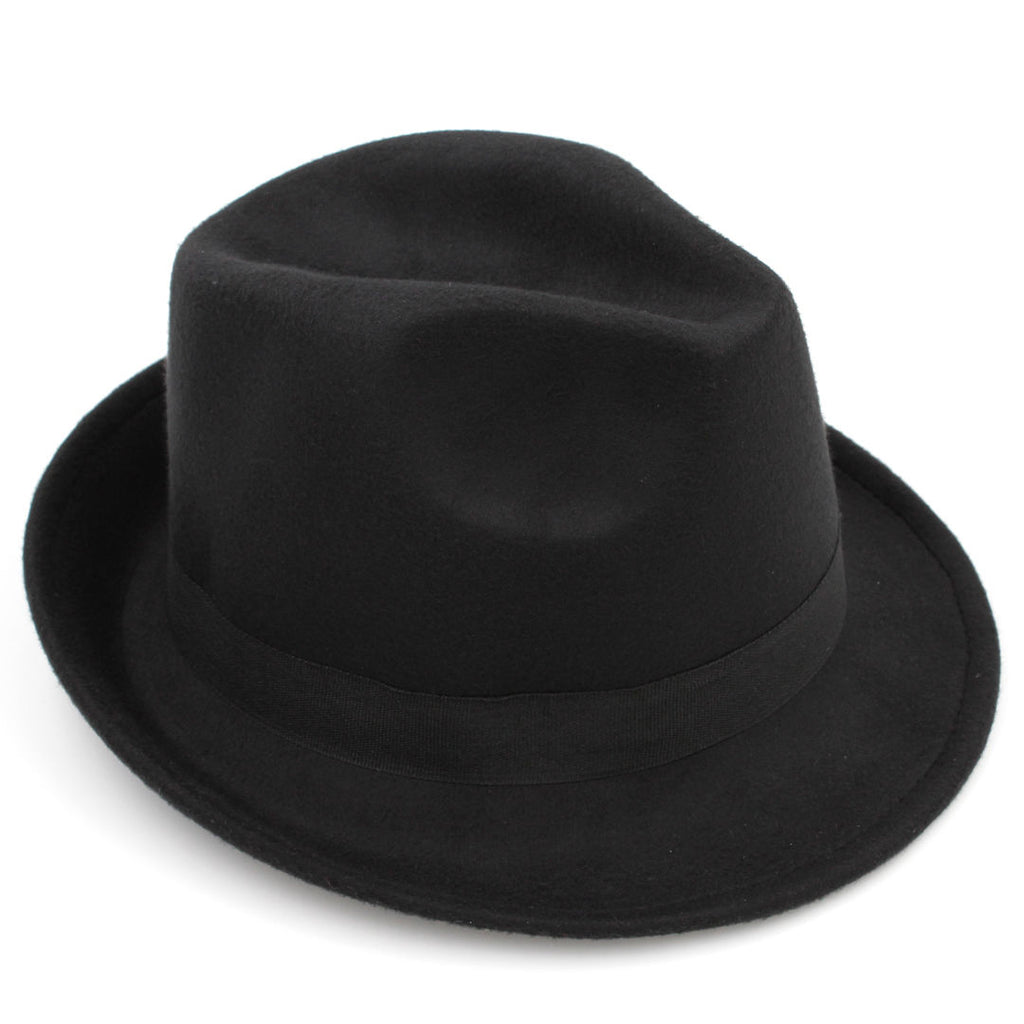 England Style Trilby Wool Panama Fedora Hats Autumn Winter Solid