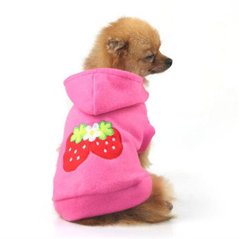 Small Dog Clothes Lovely Pet Puppy Dog Strawberry Hoodie Apparel Warm Coat Jacket Outfit Dog Clothes Costumes