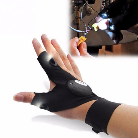 Car Bike Tire Repair tool Night Fishing Glove with LED Light Rescue Tools Outdoor Gear Magic Strap Fingerless Glove