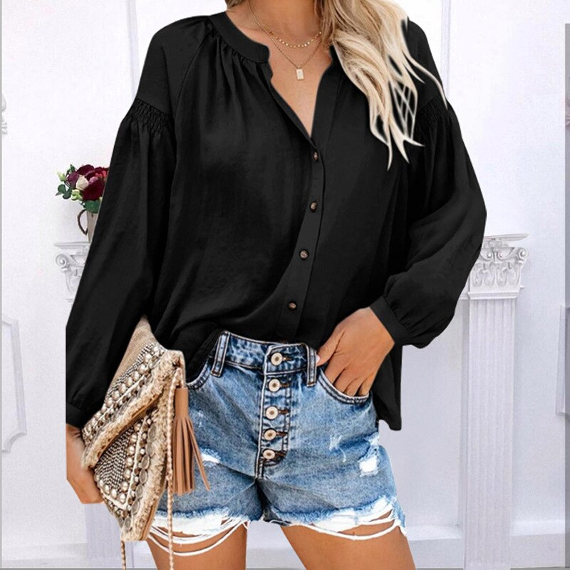 Women Blouse Long Sleeve Solid Tops