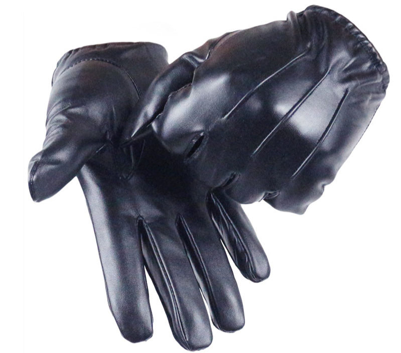 Long Keeper Hot Men's Luxurious PU Leather Winter Driving Warm Gloves Cashmere Tactical gloves Black Drop Shipping High Quality