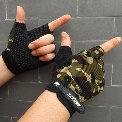 Men Antiskid Cycling Bike Gym Fitness Sports Half Finger Gloves