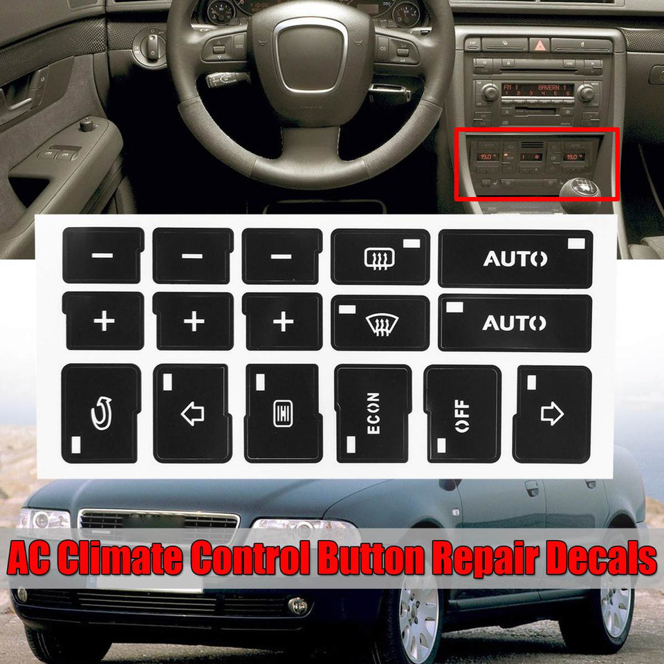 1x Car Air Condition AC Climate Control Button Repair Stickers Decals For Audi A4 B6 B7 2000 2001 2002 2003 2004