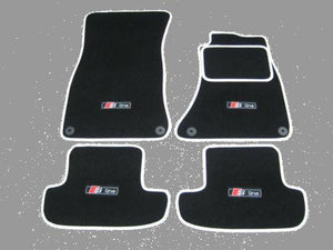 "Car Mats in Black/White trim to fit Audi A5 (2007-2016) + ""S-Line"" Logos (x4)"