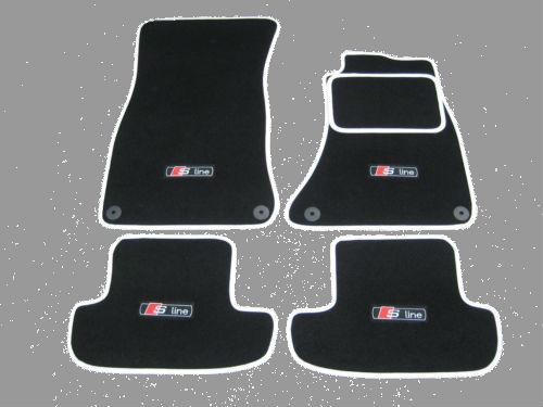 Car Mats in Black/White trim to fit Audi A5 (2007-2016) +