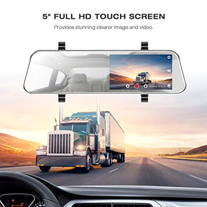 "TOGUARD Mirror Dash Cam 5"" LCD Backup Camera Rear View Mirror Camera Ultra-Thin Touch Screen Full HD 1080P Dash Cam Front and Rear Dual Lens with Waterproof Rear Camera"