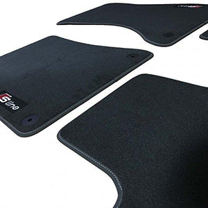 Car Mats in Black to fit Audi A1 (2010 on) + Boot Mat + S-Line Logos (x3)