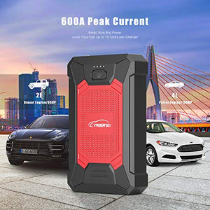 YABER Car Jump Starter, 600A 12000mAh IP66 Waterproof Car Battery Booster (Up to 4.0L Gas, 2.0L Diesel Engines) Emergency Robust Power Pack with Smart USB Port and LED Flashlight