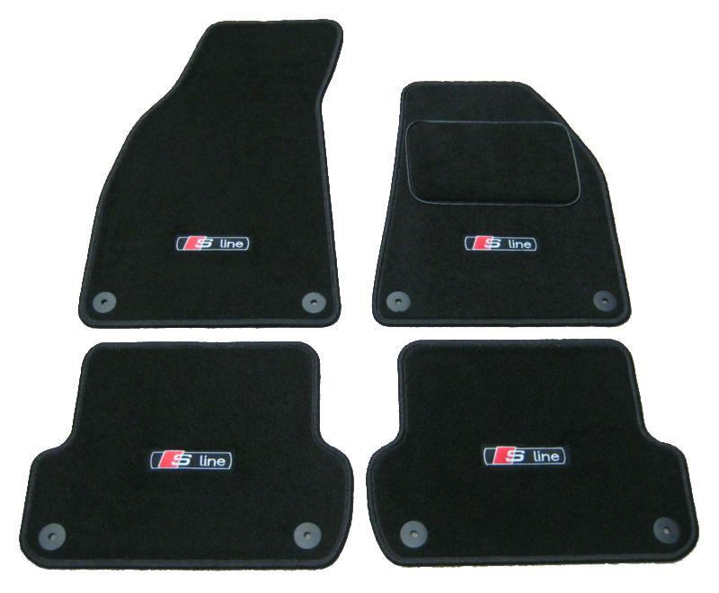 Car Mats in Black to fit Audi A4 (B6+B7 2001-2008) + S-Line Logos (x4) + Fixings