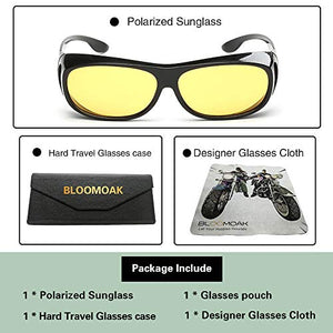 Bloomoak Polarized Night Driving Over Glasses Anti-Glare UV 400 Protection for Men Women - Polarized Wrap Around Over Prescription Eyewear - Suit for Driving/Fishing/Golf (Night Vision Lens)