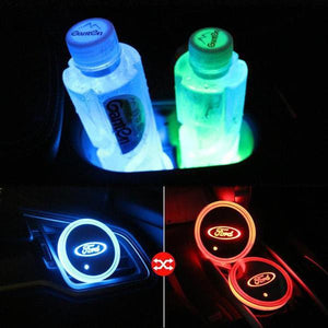 (Only £11.99 TODAY) 7 Colors Led Changing Car Logo Cup Coaster(1PC), TYPE - TESLA