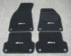 Black SUPER VELOUR Car Mats - Audi RS4 B7 Cabriolet (2006-2008) + RS4 Logos (x4)