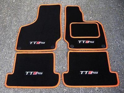 Black/Orange SUPER VELOUR Car Mats to fit Audi TT Mk2 (06-14) + TT RS Logos (x4)