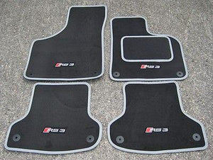 Dk Grey/Silver SUPER VELOUR Car Mats to fit Audi RS3 8V (2015 on) + RS3 Logos x4