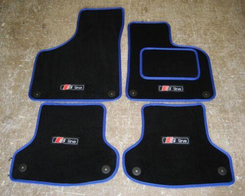 Black/Blue Car Mats to fit Audi A3 Car Mats 8V (2012 on) + S-Line Logos (x4) + Fixings