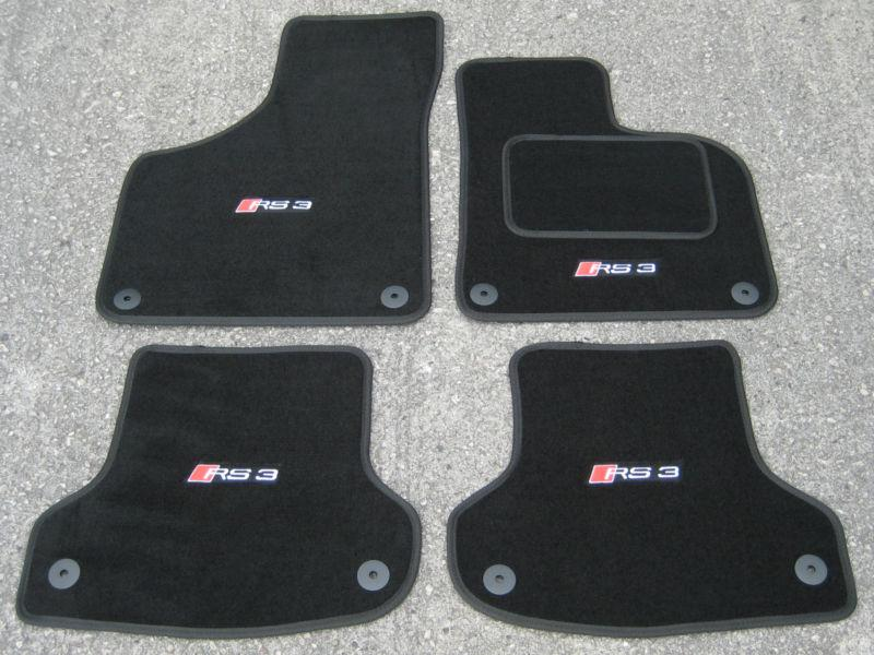 Car Mats in Black to fit Audi RS3 8V (2015 Onwards) + RS3 Logos (x4)